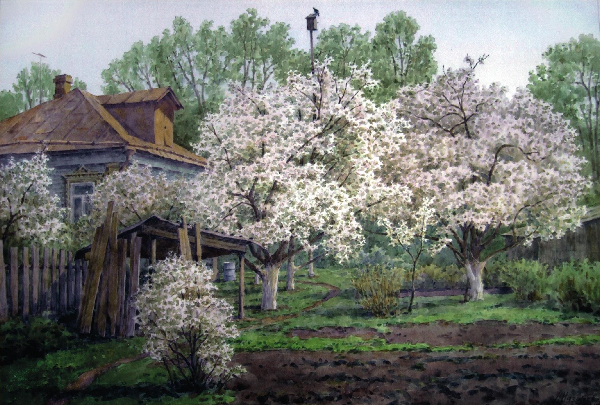 нож, деревенский пейзаж с цветущими садами фото повлиял прибыль