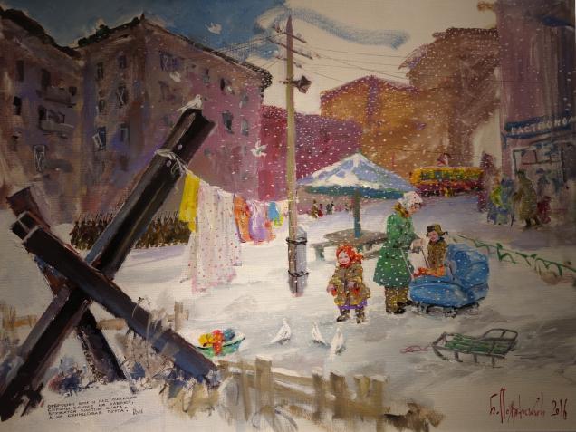 Полянский Борис. «Чистый снег». Холст на картоне, темпера. 2016 г.